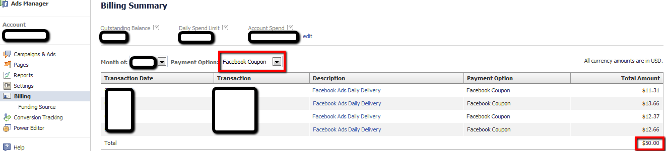 Facebook ads coupon code voucher 2013