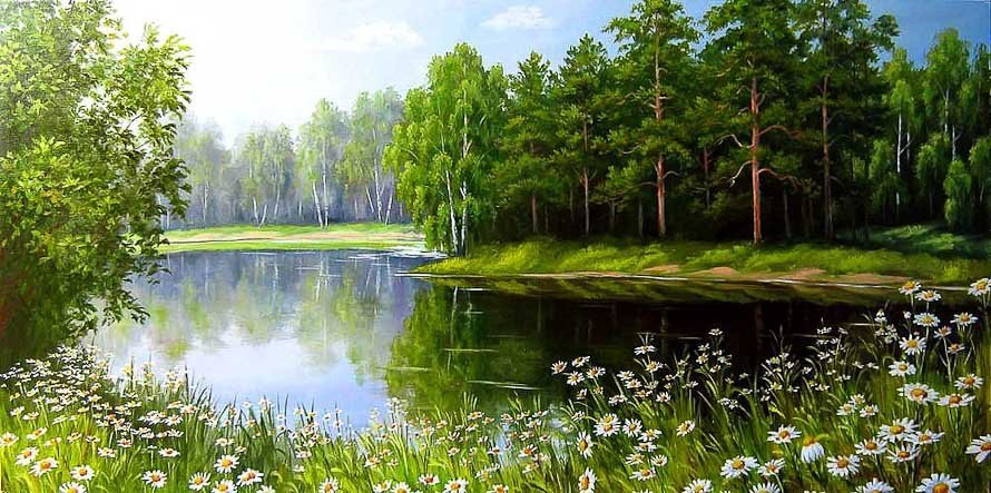 Река и ромашки на полях России