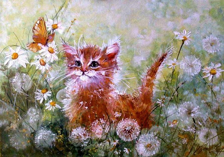 Котик гуляет по одуванчиковому полю