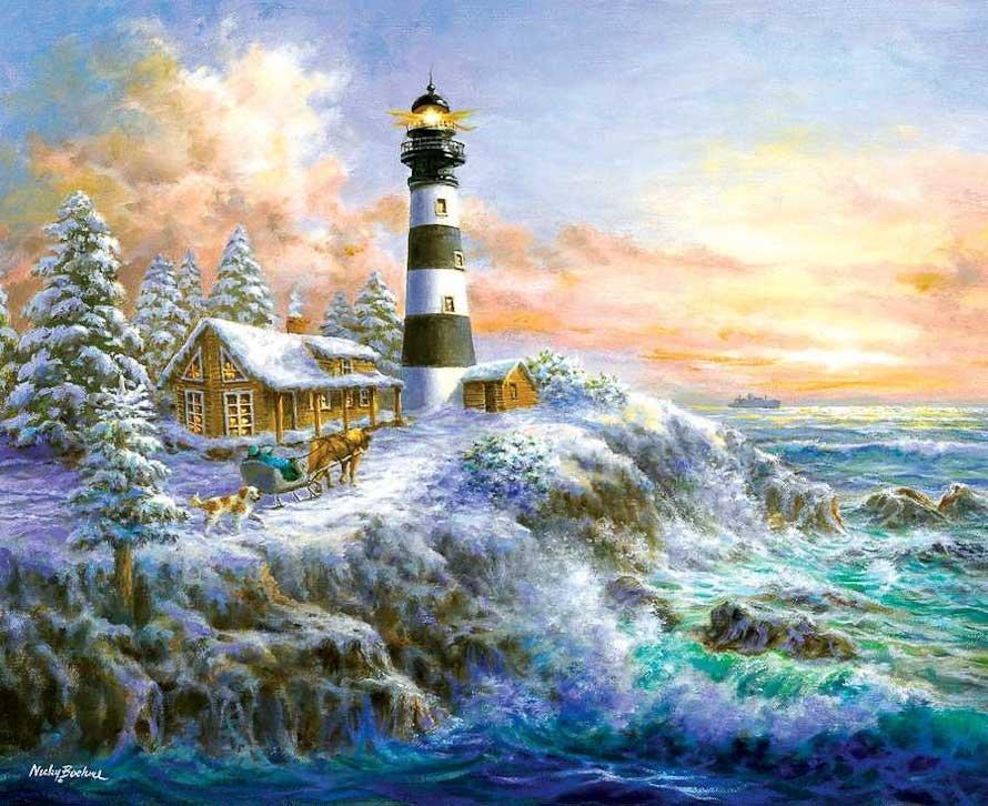 Зима в деревне и маяк на холме на картине живописца