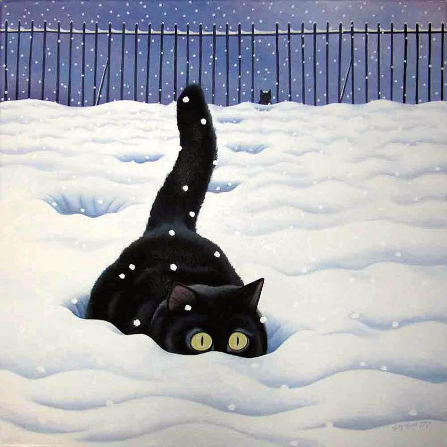 Коты зимой всегда хотят домой