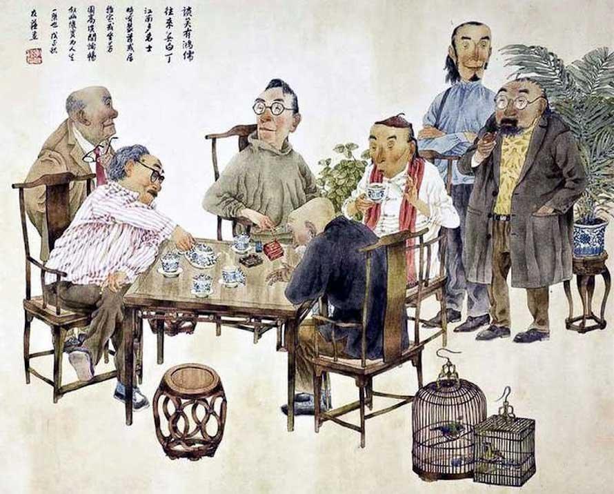 Застолья с чаем и вином на картине живописца