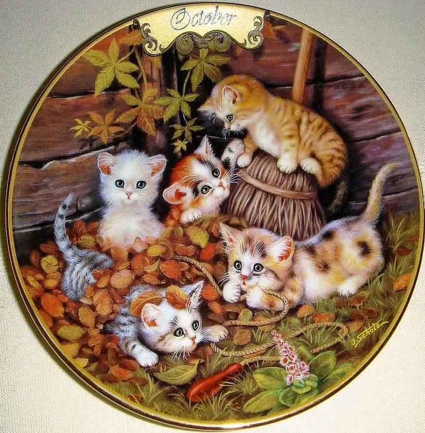 Котики со скалкой на панно