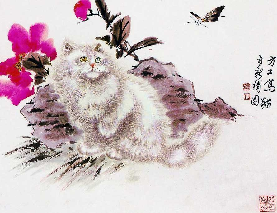Котик на красивой картине