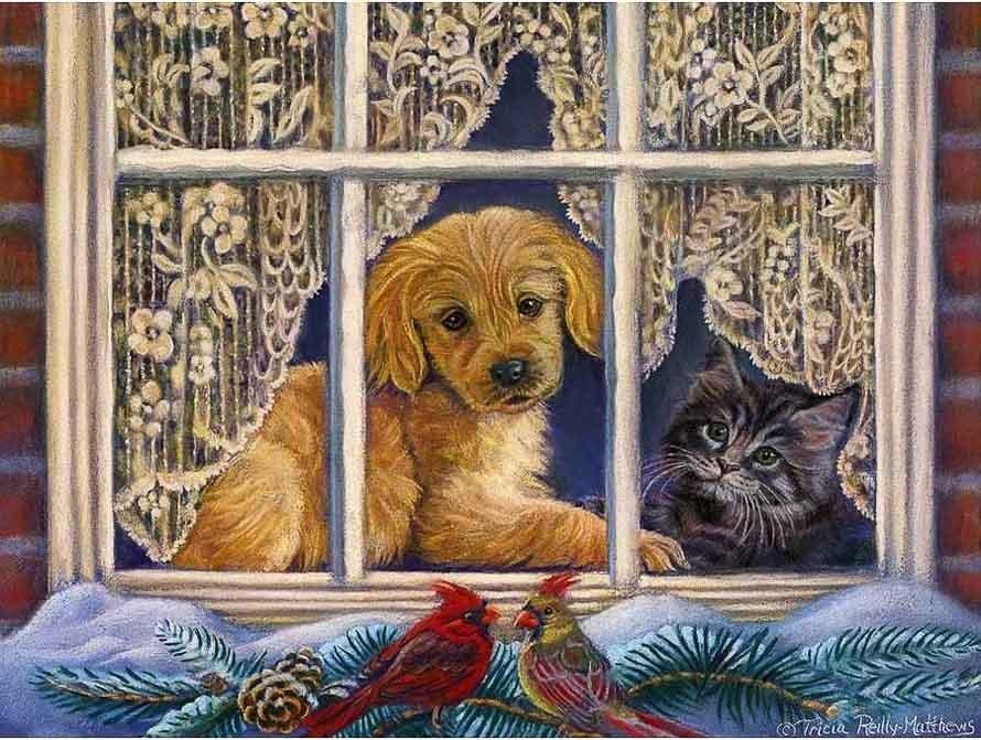 Котик и собачка на красивой картине