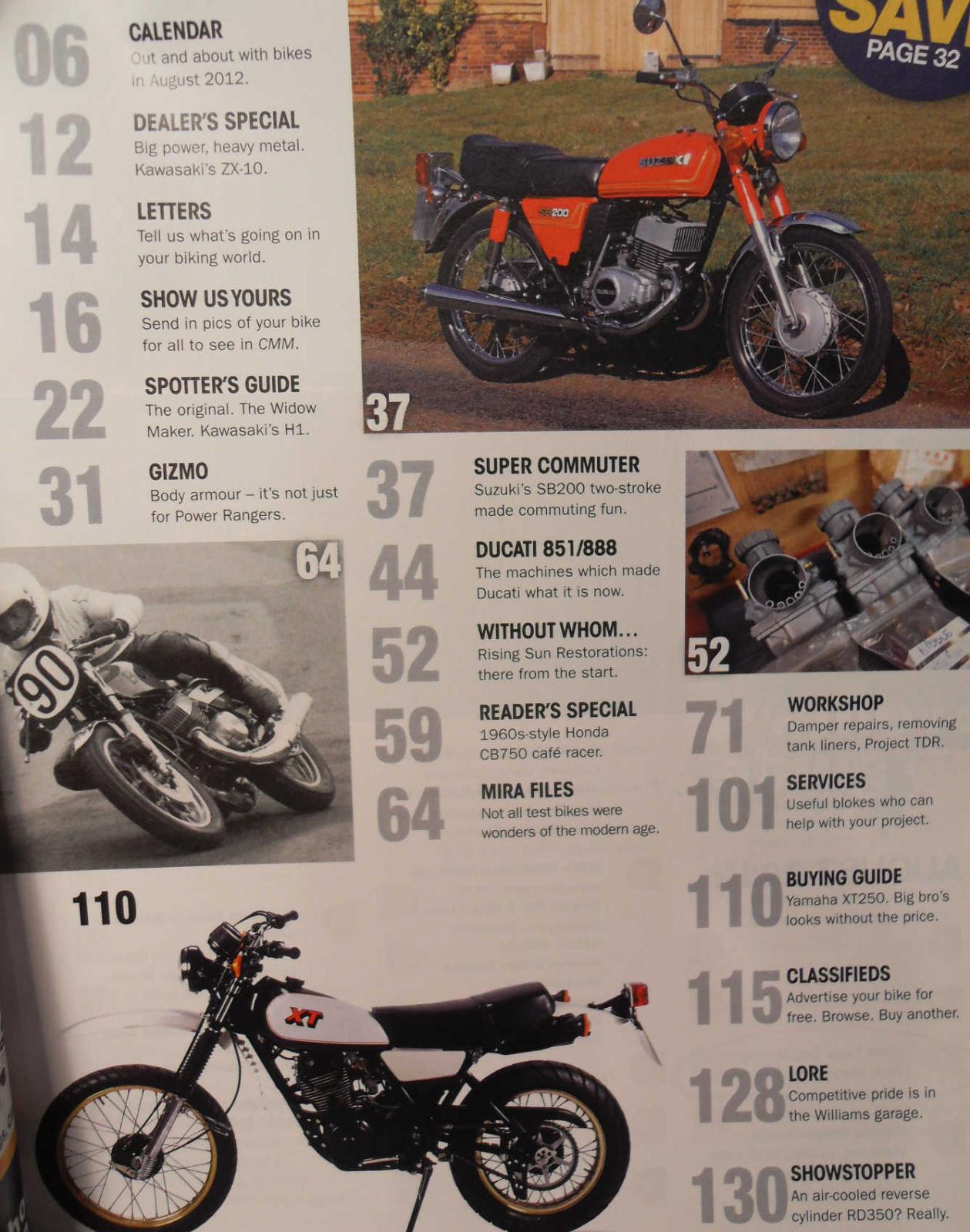 Classic mechanics aug 2012 suzuki sb200 ducati 851 888 for Yamaha sun classic parts