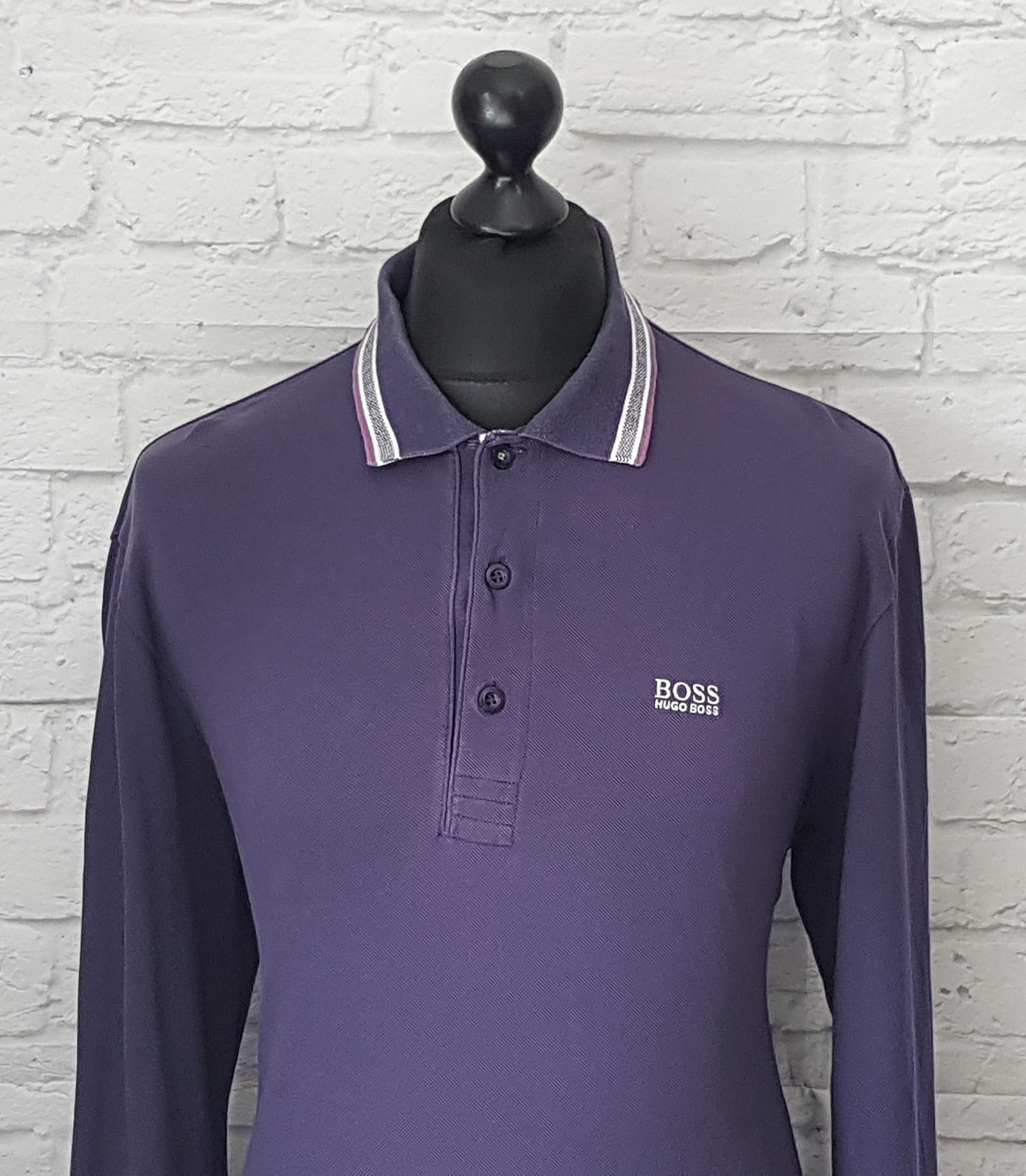 Hugo boss men 39 s green label regular fit long sleeved for Long sleeve purple polo shirt