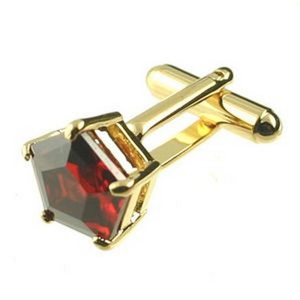 Gemelli Pentagono Cristallo Rosso Gemelli oro Inciso Inciso Inciso Scatola Personalizzata f82056