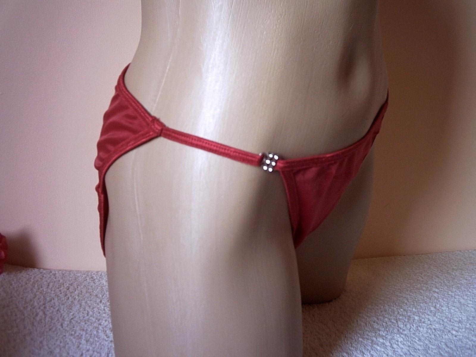 Black satin string bikini knickers